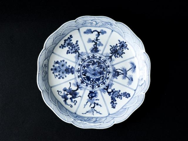■山本長左  :  青華吉祥樹花紋 皿