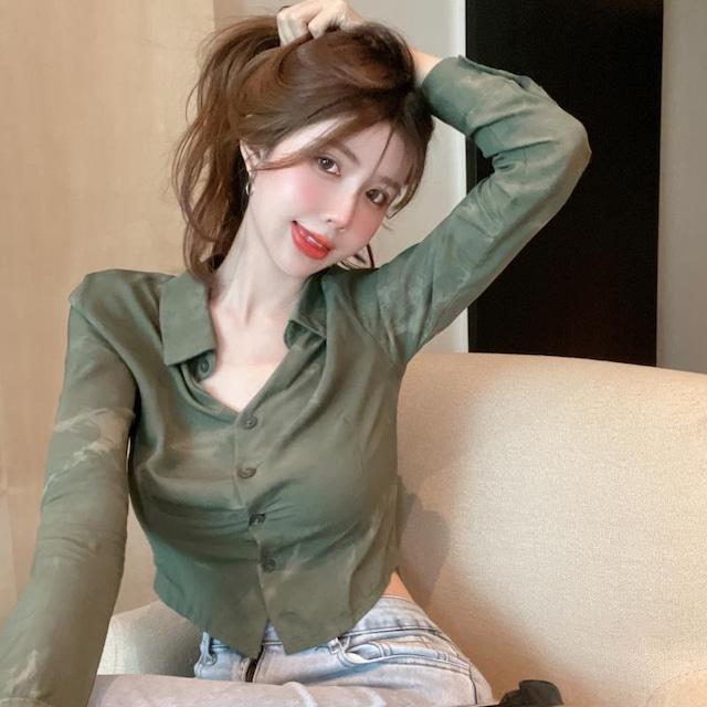 【トップス】柔らかくて優しい印象 ランダムティアード シンプル ファッション 無地 シングルブレスト シャツ-4-54060971