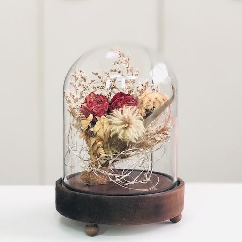 LEDガラスドームinドライフラワー 薔薇