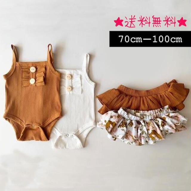 【70cm-100cm】ベビーキャミロンパース+スカート 2点セット  (298)