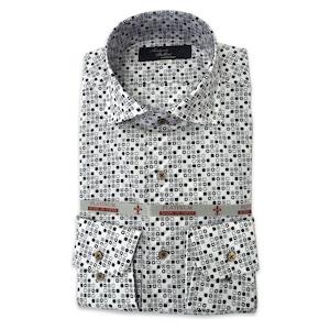 国産カーブワイドカラーシャツ ホワイト プリント