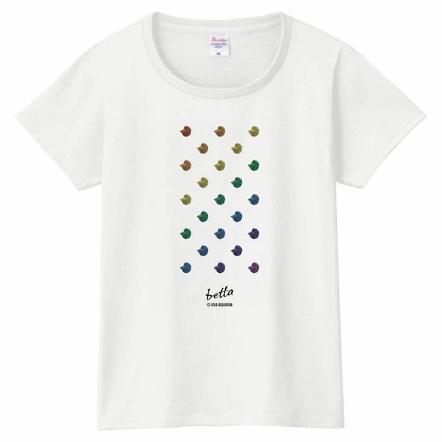 【レディス】レインボーベタドットTシャツ(ホワイト)
