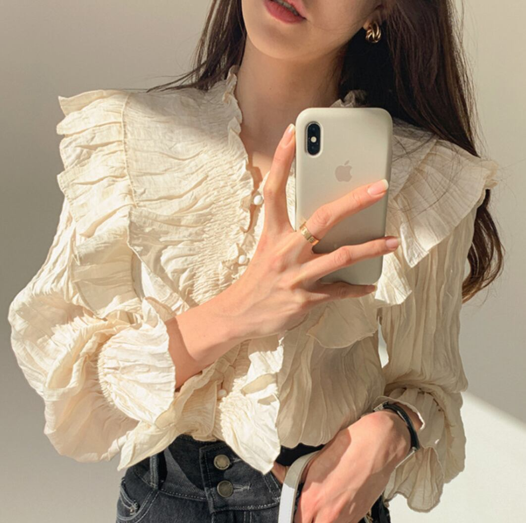 bell sleeve blouse 2color