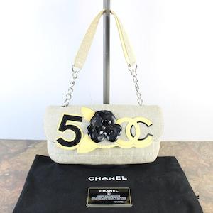.CHANEL CHOCO BAR NO5 CAMELLIA DESIGN SEMI SHOULDER BAG MADE IN ITALY/シャネルチョコバーNO5カメリアデザインセミショルダーバッグ2000000056319