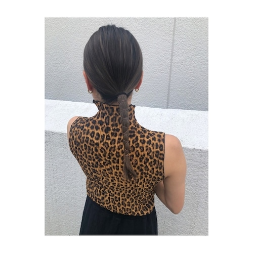 pleats leopard nosleeve