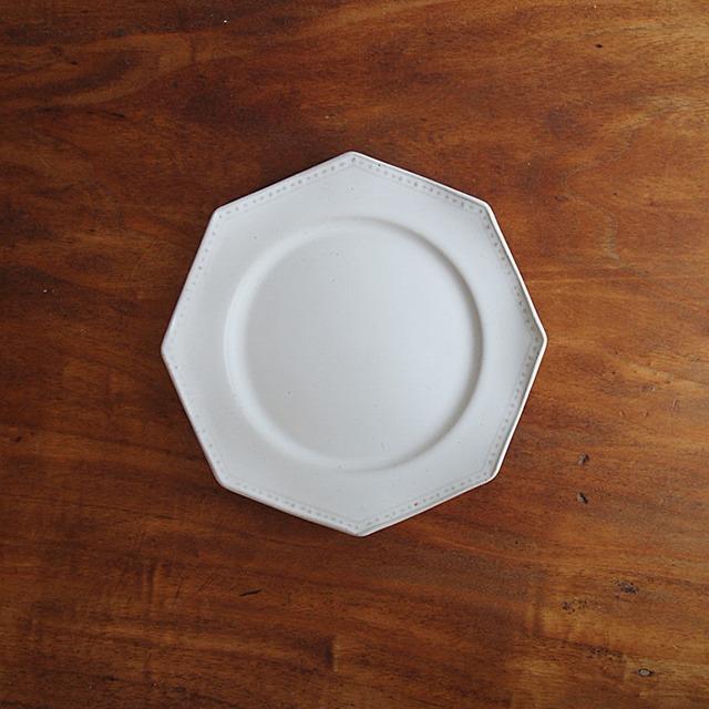 吉田健宗 | 白釉オクトゴナル皿 小