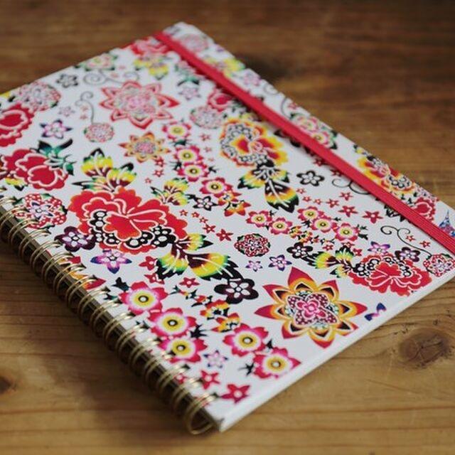 沖縄紅型(花柄)のB6リングノート