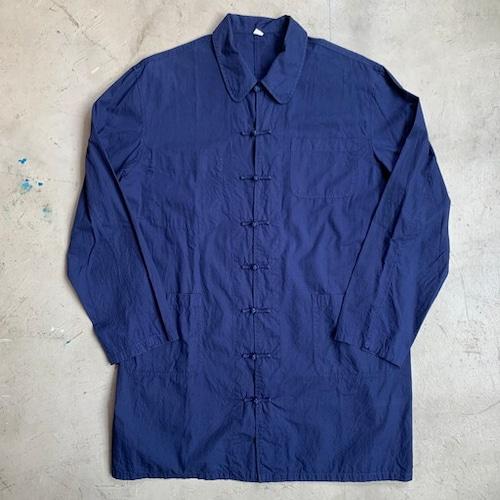 80's 90's OLD UNKNOWN フレンチワーク チャイナジャケット ミドル丈 ネイビー 紺 ユーロ コットン100% チャイナボタン Lサイズ 希少 ヴィンテージ BA-1094 RM1463H