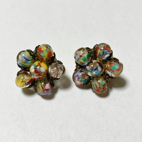 Vintage Murano Glass Cluster Earrings Made In Italy