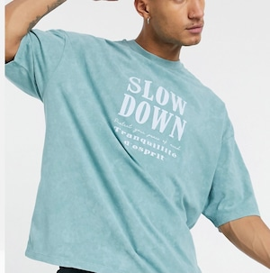 relaxed t-shirt with front text print in washed blue