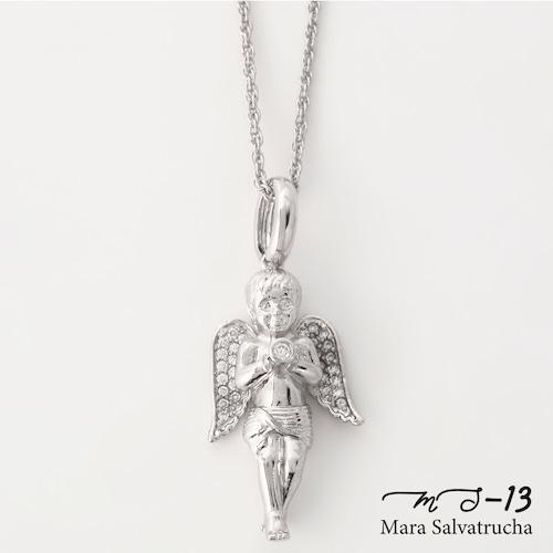 【MS-13】K18GP エンジェル チャーム M チェーンセット(ホワイトゴールド)