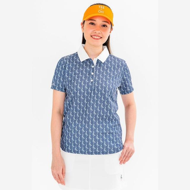 【 LADIES 】サンゴクロスポロシャツ <千鳥><NAVY><Sサイズ>
