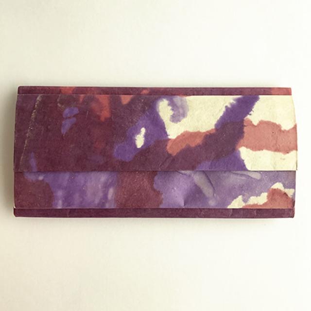 黒谷和紙の三つ折りダブル財布(菖蒲)