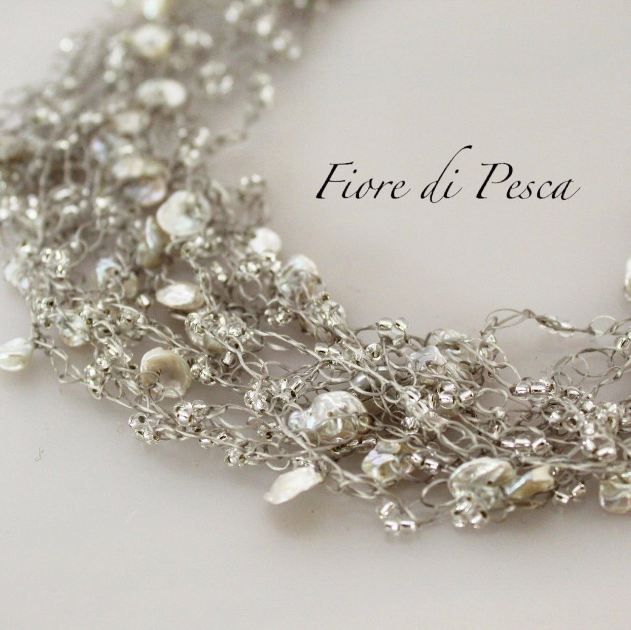 Croshet (silver x  keshipearl) Necklace