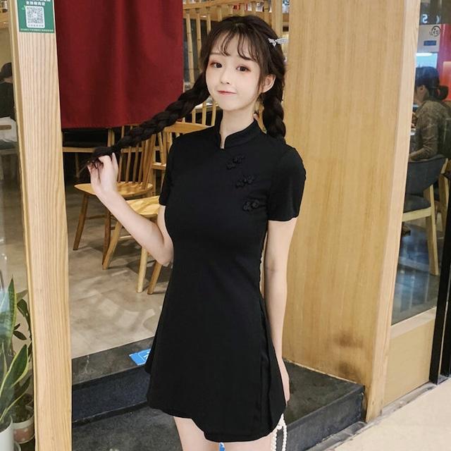 チャイナ風ワンピース 黒い ブラック S M 改良型チャイナドレス ショートパンツ セットアップ 2点セット