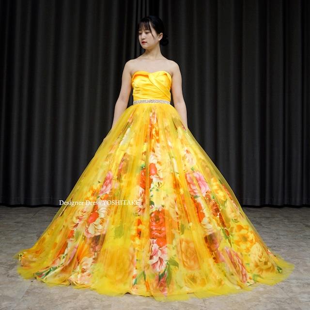 【オーダー制作】ウエディングドレス(無料パニエ) 上半身イエローサテン&スカートはオレンジ系花柄にイエローチュールのカラードレス※制作期間3週間から6週間