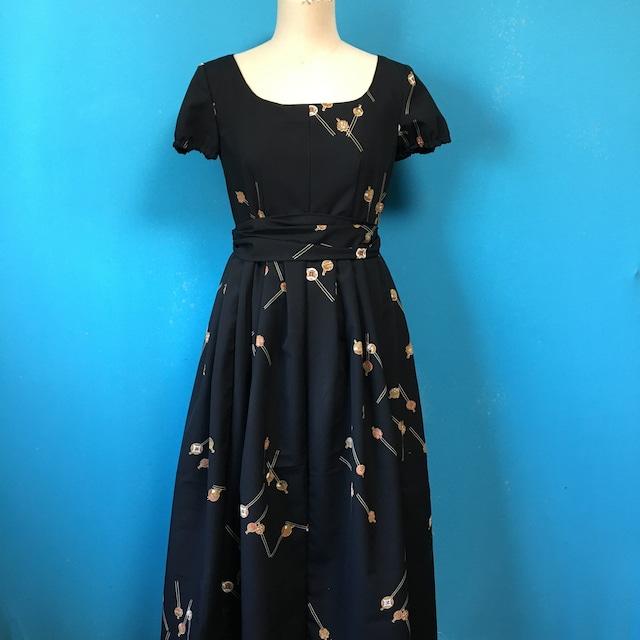 Vintage 化繊着物のレトロワンピース 簪