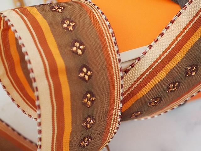 フランス製リボン「マロン&オレンジゴールド 花刺繍」40ミリ ワイヤー入り