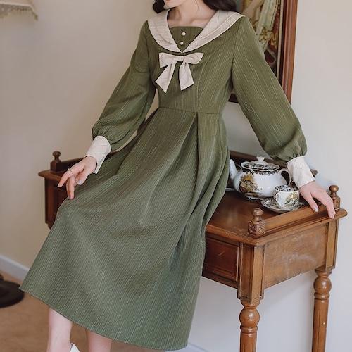 3色/ミディカラータックワンピ ・19189