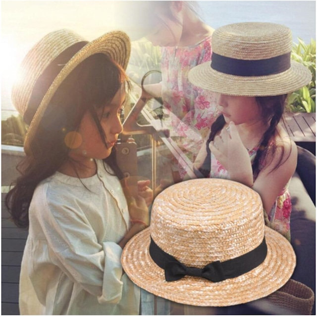 【子供】麦わら帽子 子供 あごひも付き 麦わらハット UV対策 UVカット 50-52㎝ キッズ ベビー