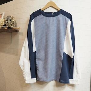 【SALE】design striped shirt  <blue stripe>
