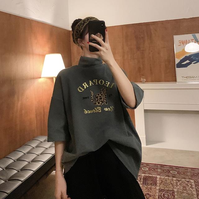 タートルネック半袖ロング丈Tシャツ