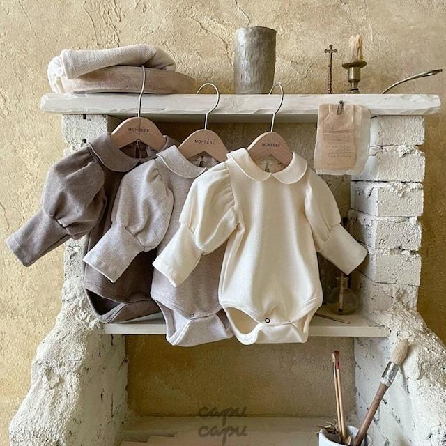 «先行予約割引»«baby» monbebe puff suit 3colors パフスリーブロンパース