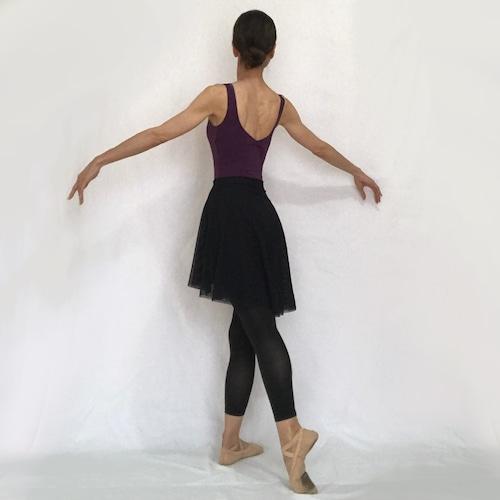 ◆Minimalist Ballet Skirt: BLACK (ミニマリスト・プルオンバレエスカート(黒))