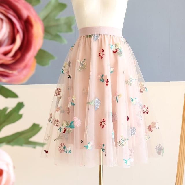 フラワー刺繍チュールスカート 1318