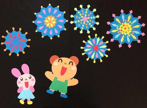 【夏の壁面装飾】夏の夜空に花火バンバン