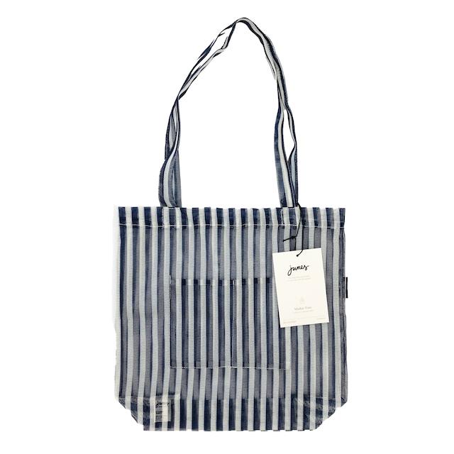 JUNES Bio-Knit Market Tote:Pinstripe
