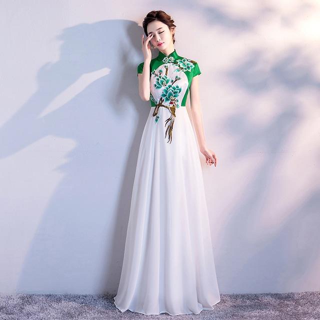 改良型チャイナドレス チャイナ風服 パーティードレス ロングドレス 女子会 二次会 お呼ばれドレス 発表会 大きいサイズ S M L LL 3L 4L チャイナ風ドレス ホワイト 白い スリム エレガント 赤い花or緑の花