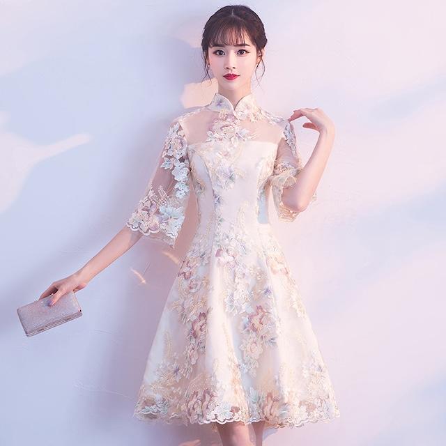 ショートチャイナドレス 刺繍入り 成人式 チャイナ風ワンピース 五分袖 XS~3L 卒業式 シャンパン