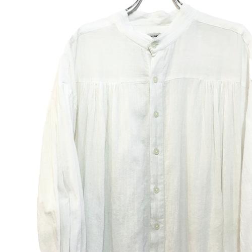 【USED】リメイク バンドカラー インド綿 ギャザー シャツ