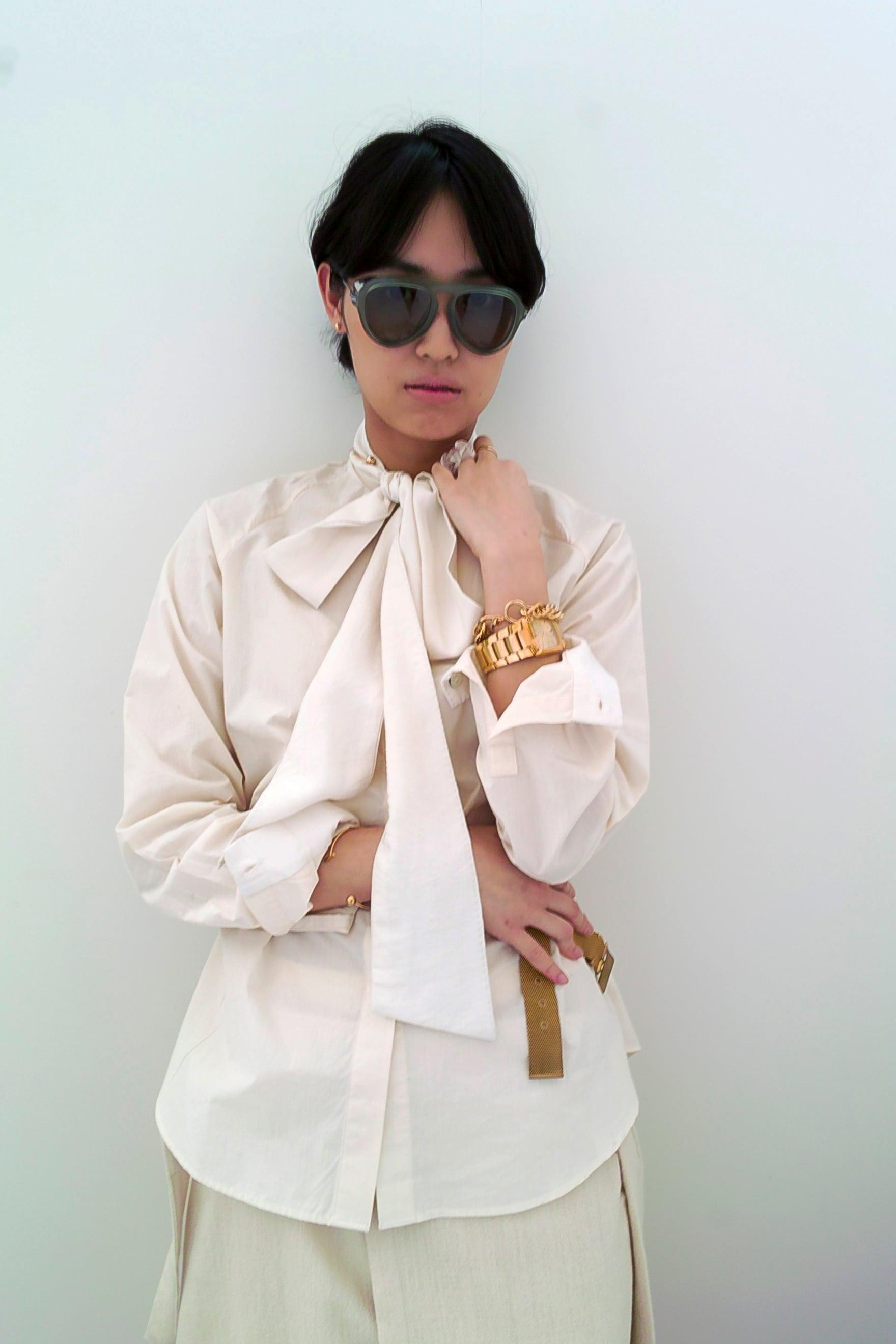 "Raglan Sleeve bowtie blouse ""natural white"" organic cotton"
