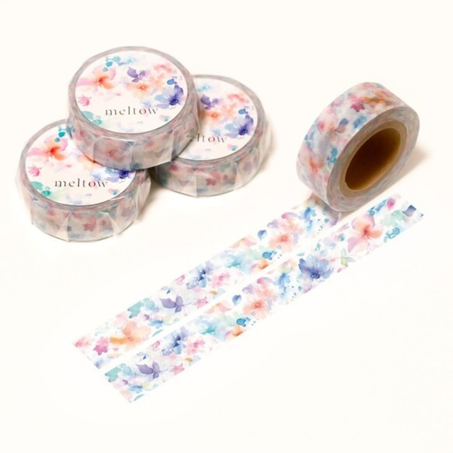 水彩花柄のマスキングテープ