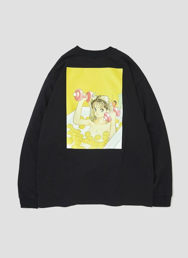 """KOHMI NATSUKI YELLOW"" Long-Sleeve T-Shirt (Black)"