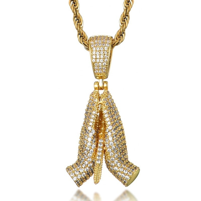 Iced Out Praying Hands Necklace