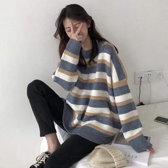 【トップス】韓国系 ストライプ柄 ゆるリラックス 合わせやすい セーター52393535
