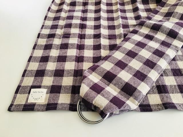 丸洗いできるベビースリング・日本製コットンリネン黒ギンガムチェック