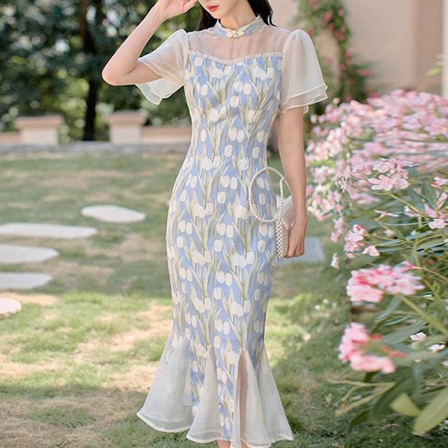 ワンピース チャイナドレス スタンドネック 花柄 美人度アップ スウィート マチャプチャレスカート ブルー S M L