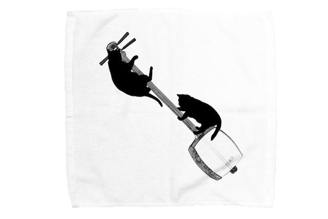 三味線と黒猫のミニタオル