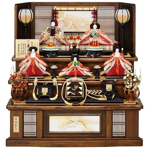 吉徳 雛人形 京十番親王 五寸官女五人飾り「江都みやび春窓雛」