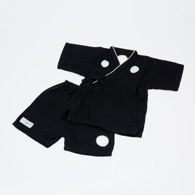 黒紋付染め甚平 (Black jinping)