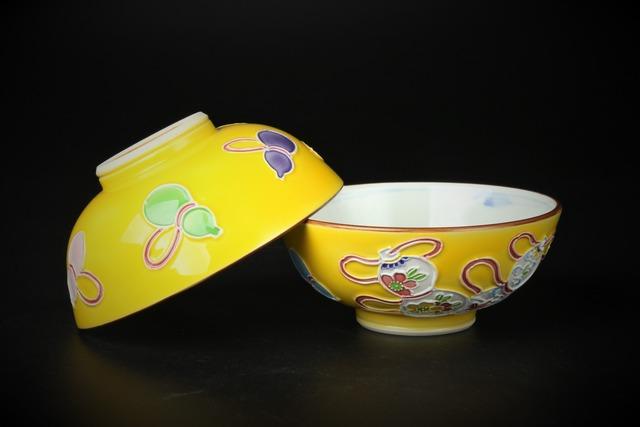黄交趾六瓢飯碗 清水焼