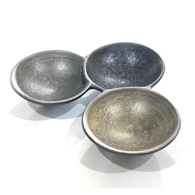 雲母金銀  三組小皿