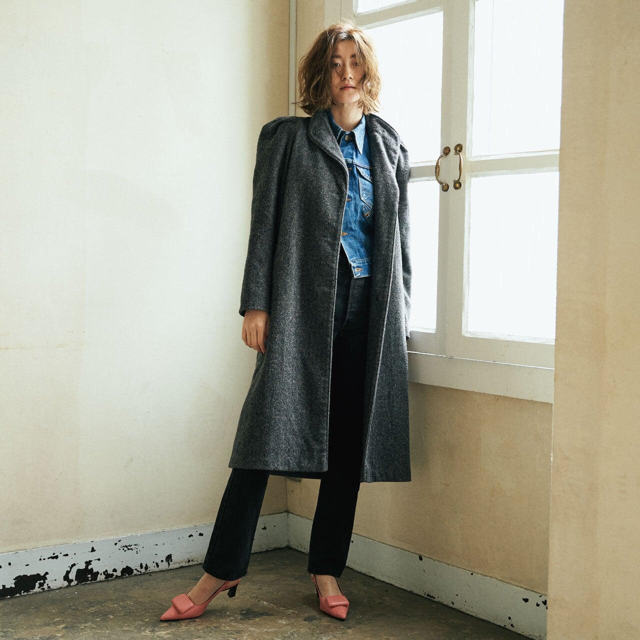 70's-80's gray puff sleeve long coat