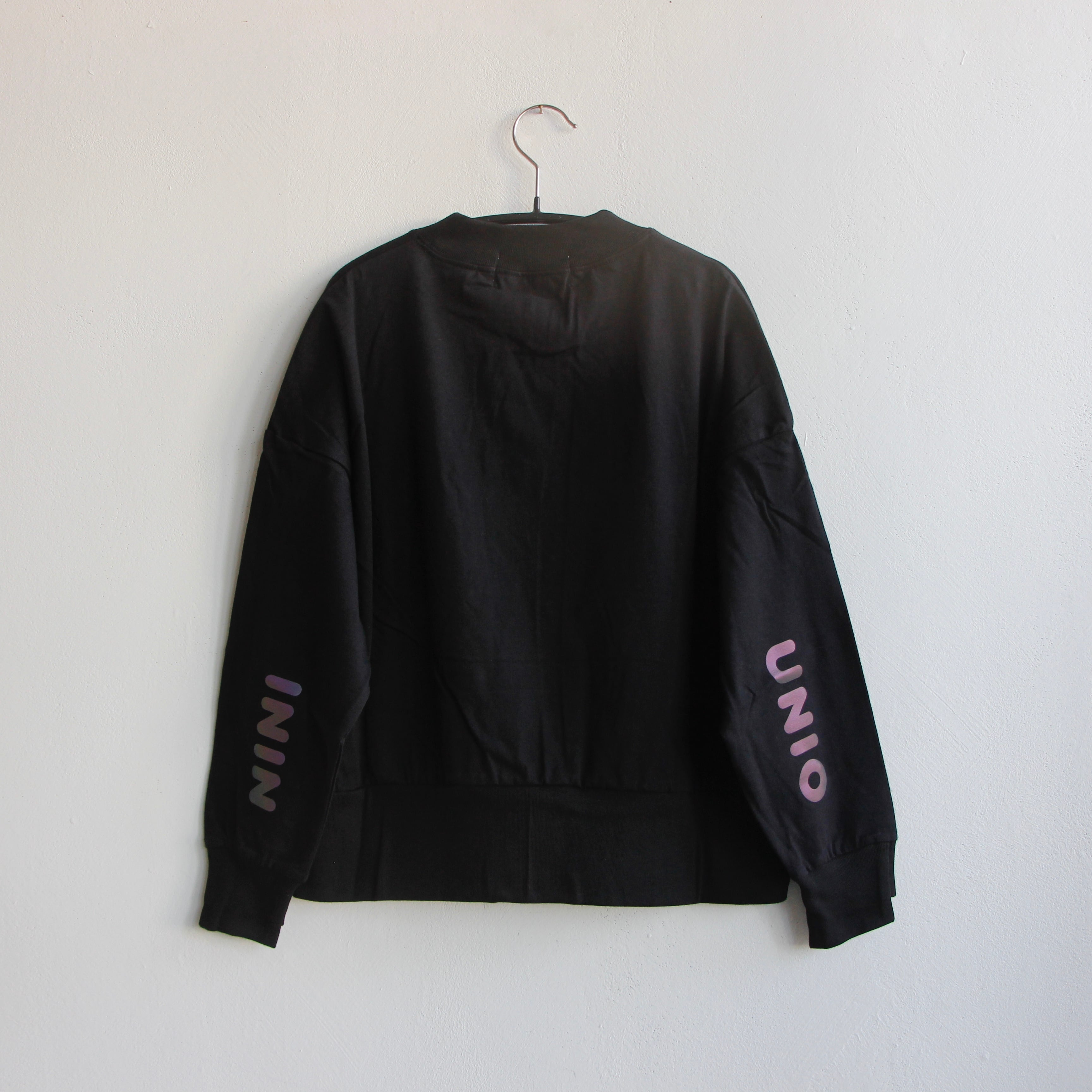 《UNIONINI 2021AW》reflect logo long sleeved tee /  black / 大人S・M