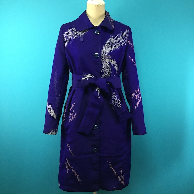 Vintage 着物のキラキラパープルコート*US 8