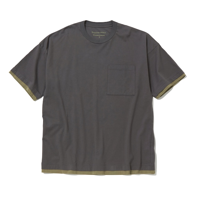 LAYERED WIDE T-SHIRT - CHARCOAL